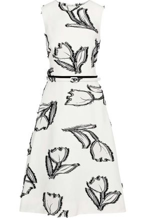 OSCAR DE LA RENTA Belted fil coupé crepe dress