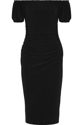 NORMA KAMALI Sophia off-the-shoulder ruched stretch-jersey dress