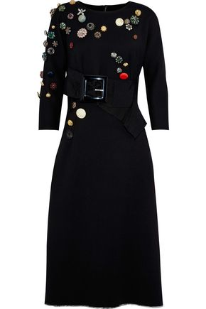 DOLCE & GABBANA Appliquéd buckled wool-blend twill midi dress