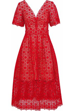 OSCAR DE LA RENTA Bow-embellished broderie anglaise cotton midi dress