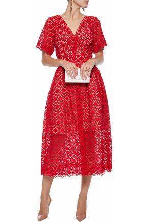 OSCAR DE LA RENTA Bow-embellished broderie anglaise cotton midi dress