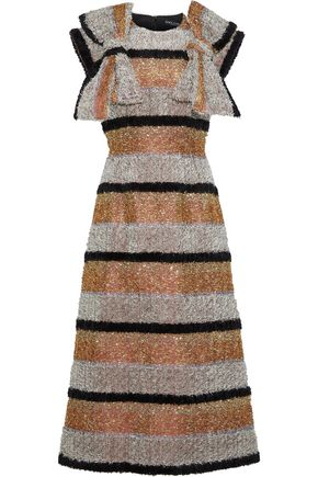 DOLCE & GABBANA Bow-embellished striped tinsel dress