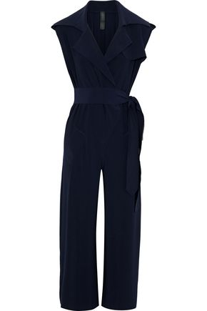 NORMA KAMALI Cropped wrap-effect voile jumpsuit