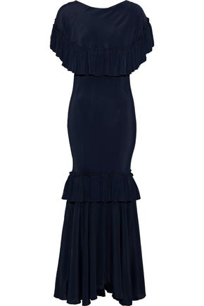 MARNI Ruffle-trimmed crepe de chine maxi dress