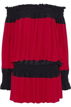 NORMA KAMALI Off-the-shoulder two-tone stretch-jersey mini dress