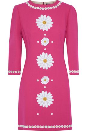 DOLCE & GABBANA Floral-appliquéd wool-crepe mini dress