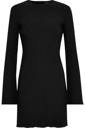 Ellery ELLERY WOMAN RIBBED-KNIT MINI DRESS BLACK