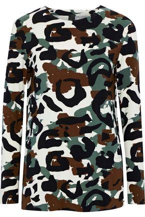 NORMA KAMALI Printed stretch-jersey top