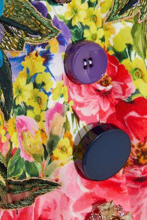 DOLCE & GABBANA Velvet-trimmed embellished floral-print cady dress