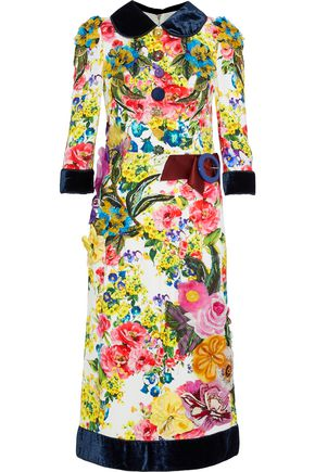 5b3f5a5301 DOLCE & GABBANA Velvet-trimmed embellished floral-print cady dress