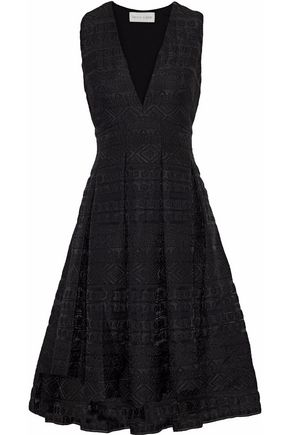 SACHIN & BABI Chiffon-paneled pleated jacquard dress