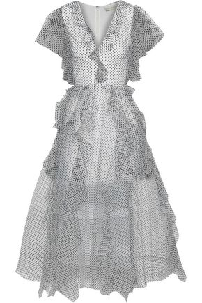 SACHIN & BABI Nina ruffled flocked tulle gown