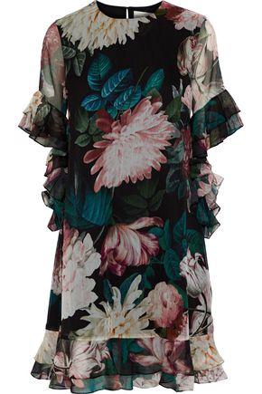 SACHIN & BABI Cutout ruffled floral-print chiffon dress