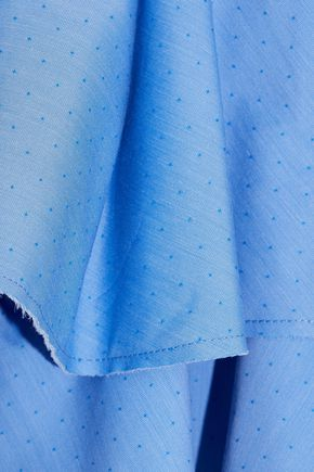 ELLERY Delores off-the-shoulder ruffled cotton-jacquard top