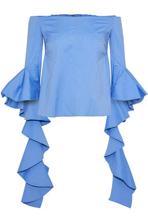 ELLERY Delores off-the-shoulder ruffled cotton-jacquard top