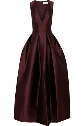 SACHIN & BABI Flared pleated duchesse-satin gown