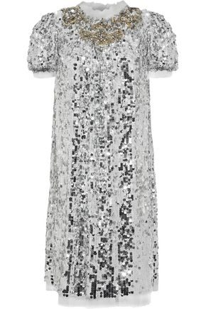DOLCE & GABBANA Crystal and sequin-embellished tulle dress