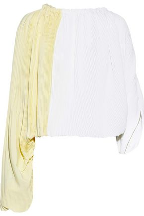 MARNI Tie-back two-tone plissé crepe de chine blouse