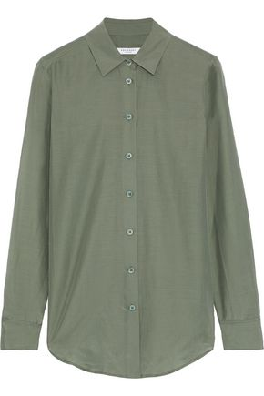 EQUIPMENT Essential coated cotton and silk-blend shirt