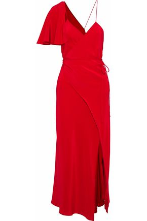 MICHELLE MASON Asymmetric crepe de chine midi wrap dress