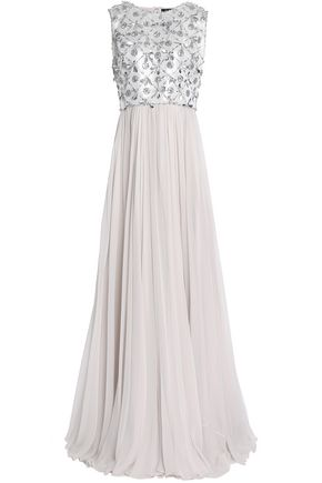 JENNY PACKHAM Metallic embellished silk-georgette gown