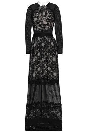 PERSEVERANCE Lace and tulle paneled maxi dress