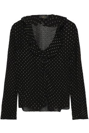 DE LA VALI Metallic fil coupé chiffon blouse