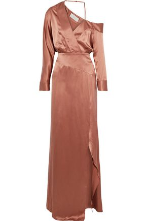 MICHELLE MASON Off-the-shoulder wrap-effect silk-charmeuse gown