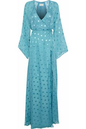 MICHELLE MASON Polka-dot fil coupé silk-blend chiffon maxi wrap dress
