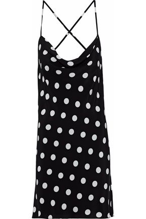 MICHELLE MASON Polka-dot silk mini slip dress