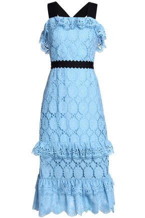 PERSEVERANCE Tiered broderie anglaise cotton midi dress
