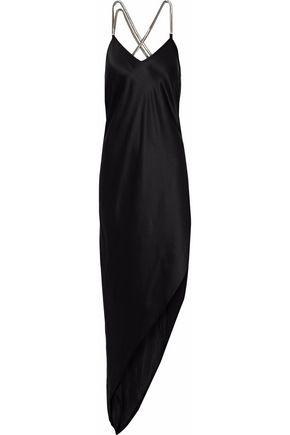 MICHELLE MASON Asymmetric chain-trimmed silk-charmeuse gown