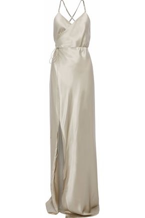 MICHELLE MASON Open-back silk-satin wrap gown