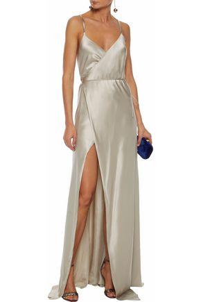 MICHELLE MASON Open-back silk-satin wrap gown