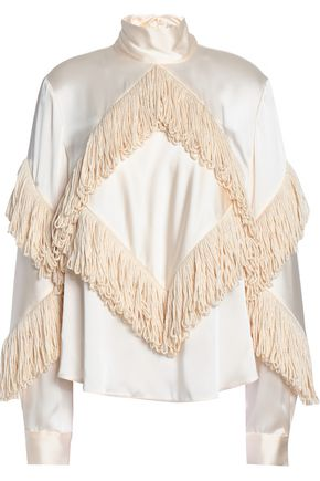 CHRISTOPHER KANE Fringed satin turtleneck top
