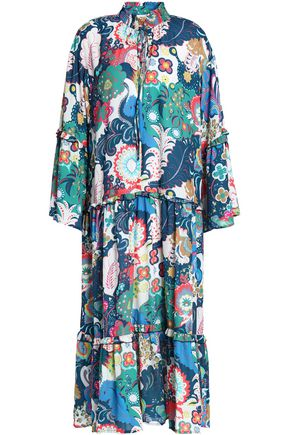 PERSEVERANCE Ruffle-trimmed printed crepe de chine midi dress