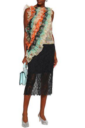 CHRISTOPHER KANE Floral-print ruffled silk-organza top