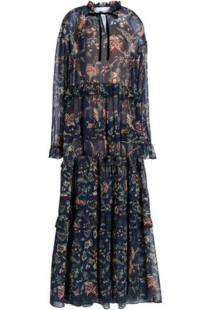 PERSEVERANCE Tiered printed georgette maxi dress