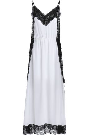 CHRISTOPHER KANE Lace-trimmed silk-georgette maxi slip dress