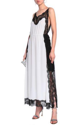 684859533435 ... CHRISTOPHER KANE Lace-trimmed silk-georgette maxi slip dress ...