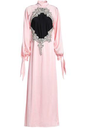 CHRISTOPHER KANE Embellished two-tone satin maxi dress