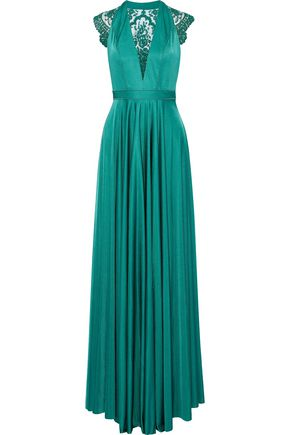 CATHERINE DEANE Brooke embroidered tulle-paneled satin gown