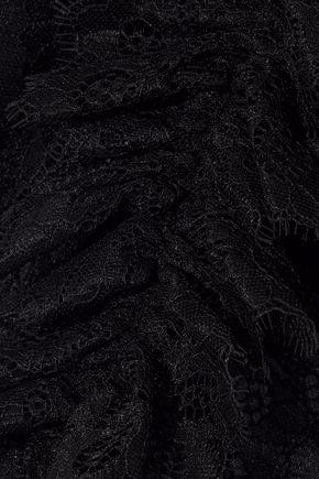 ALICE + OLIVIA Regina cold-shoulder cropped ruffled lace top