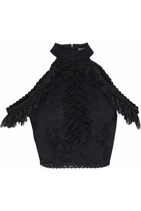 ALICE + OLIVIA Regina cold-shoulder cropped ruffled lace top