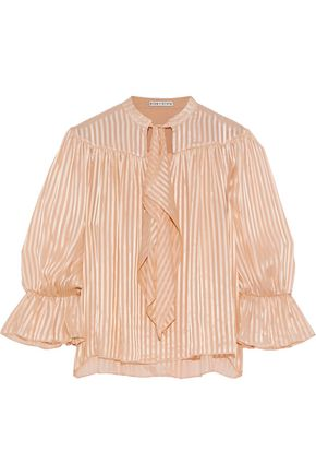 ALICE + OLIVIA Danika pussy-bow striped burnout satin blouse