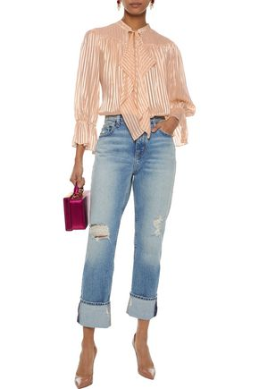 8aee26058ebf9 ALICE + OLIVIA Danika pussy-bow striped burnout satin blouse