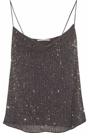 Harmon Bead Embellished Crepe De Chine Camisole by Alice + Olivia