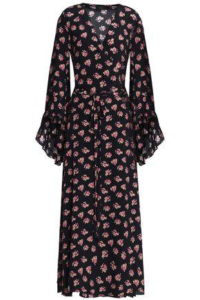 DE LA VALI Printed silk crepe de chine wrap maxi dress