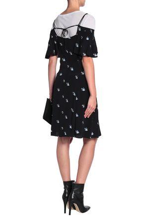 McQ Alexander McQueen Cold-shoulder ruffle-trimmed printed woven mini dress