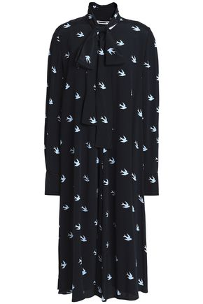 McQ Alexander McQueen Pussy-bow printed woven midi dress